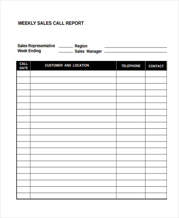 weekly sales call report