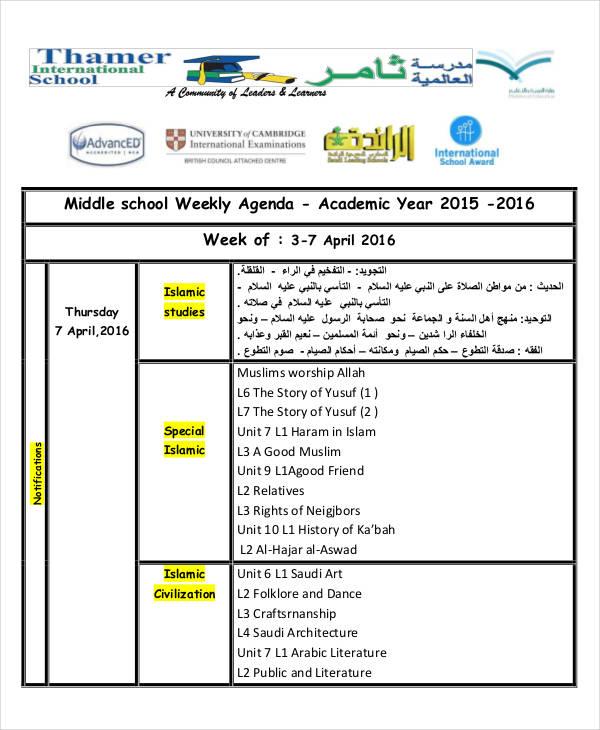 Charming Weekly School Agenda