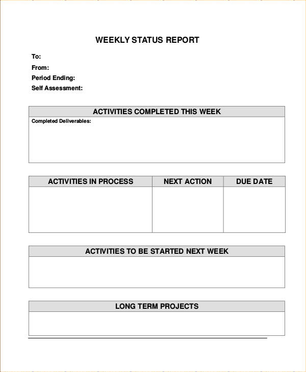 weekly status report samples