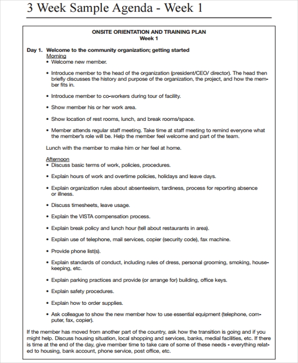 Sample Weekly Agenda Weekly Training Agenda 6 Weekly Agenda – Sample Agenda Planner