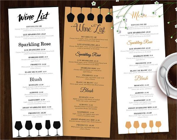 Wine Bar Menu Design