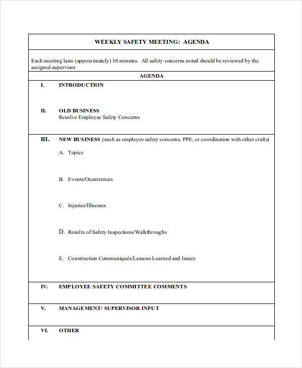 Weekly Agenda Examples Samples