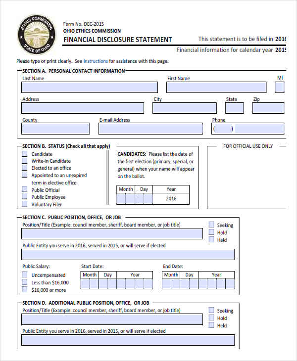 employee financial disclosure - Employee Statement Form