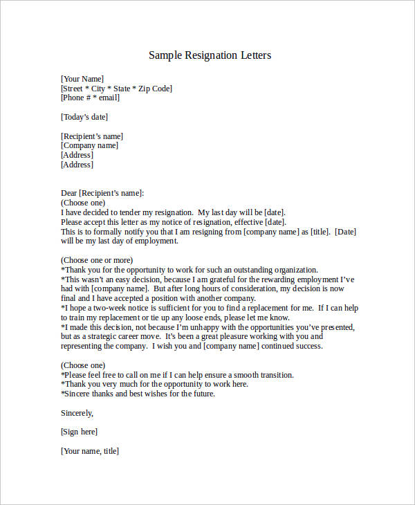 Resignation Notice Examples  Samples