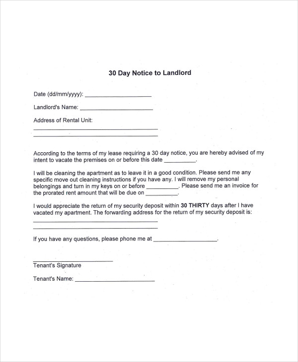 9 examples of 30 day notice examples samples 30 day to landlord thecheapjerseys Gallery