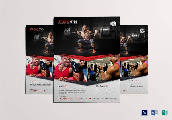 absolute gym fitness flyer template 600
