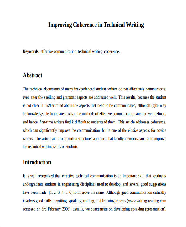6 abstract writing examples samples pdf doc