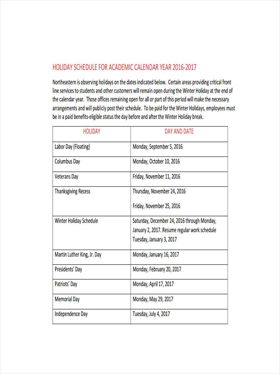 27  sample schedules