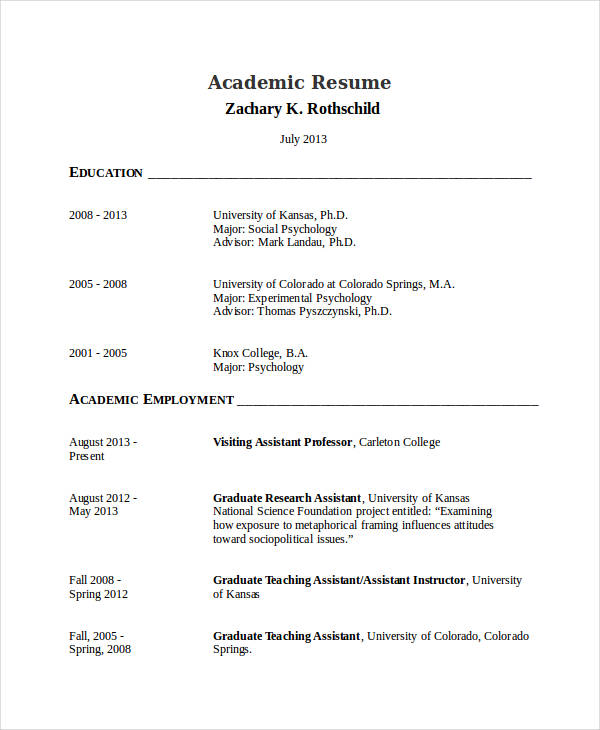 academic resume template1