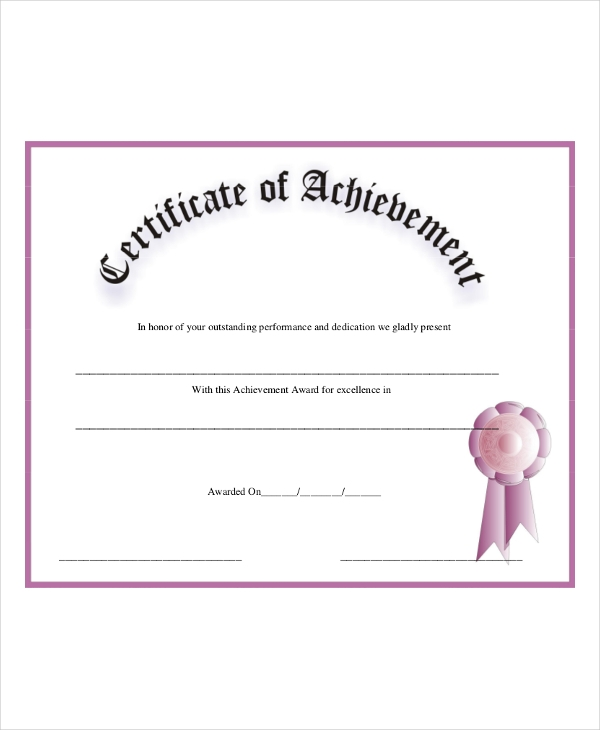 achievement certificatea