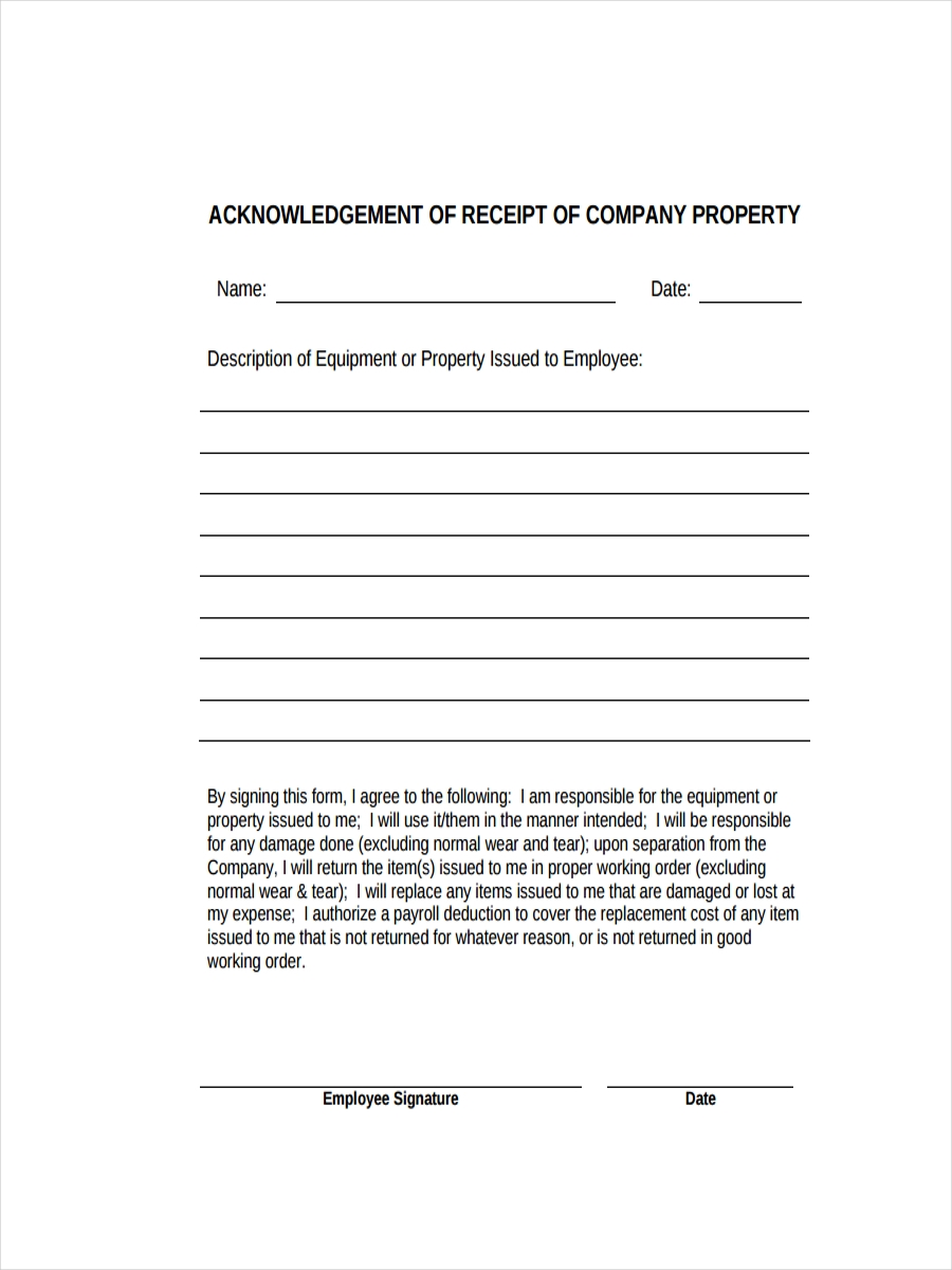 Acknowledgement Receipt Of Property  Acknowledgement Receipt Sample