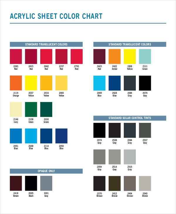 Color Chart Examples Samples