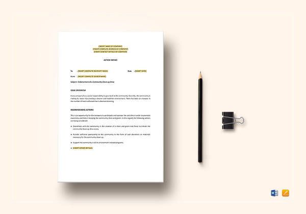 5 Action Memo Examples Samples