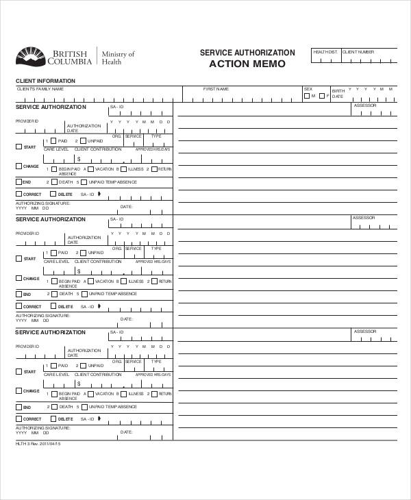 action memo for service authorization