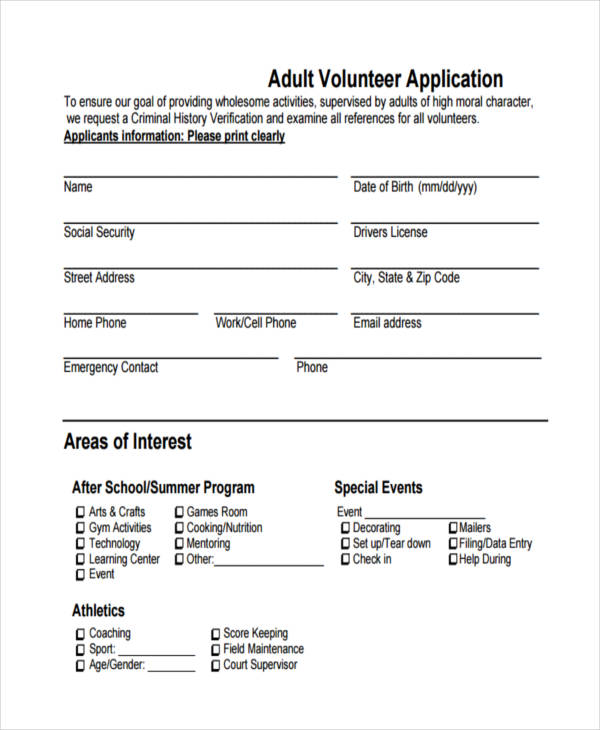adult volunteer