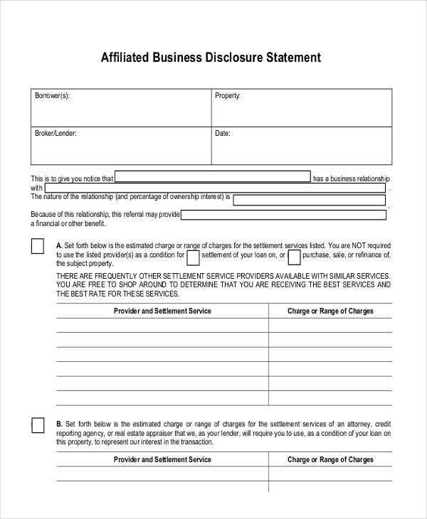 affiliated business disclosure sample