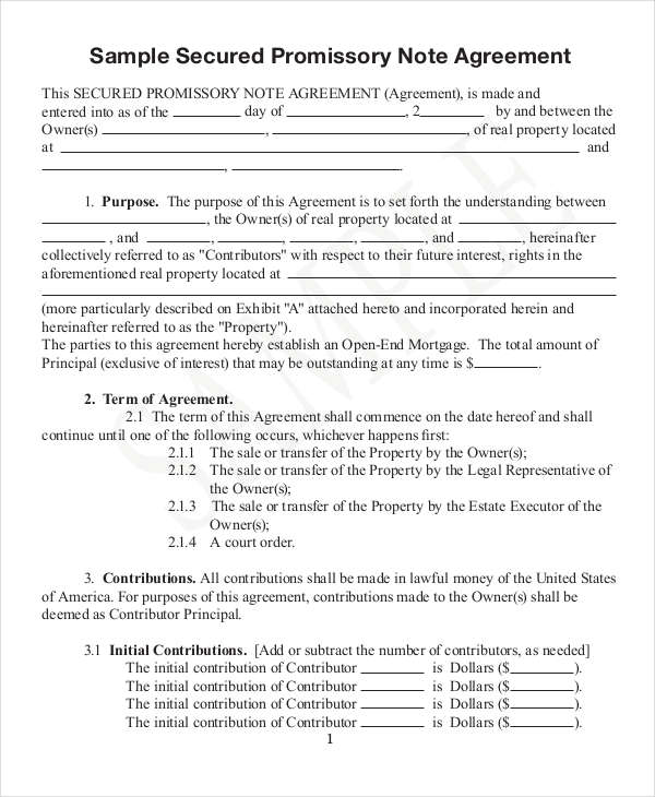 Note Templates Examples Samples - Short term promissory note template