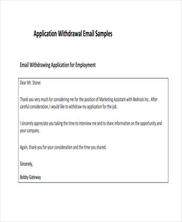 Application Withdrawal
