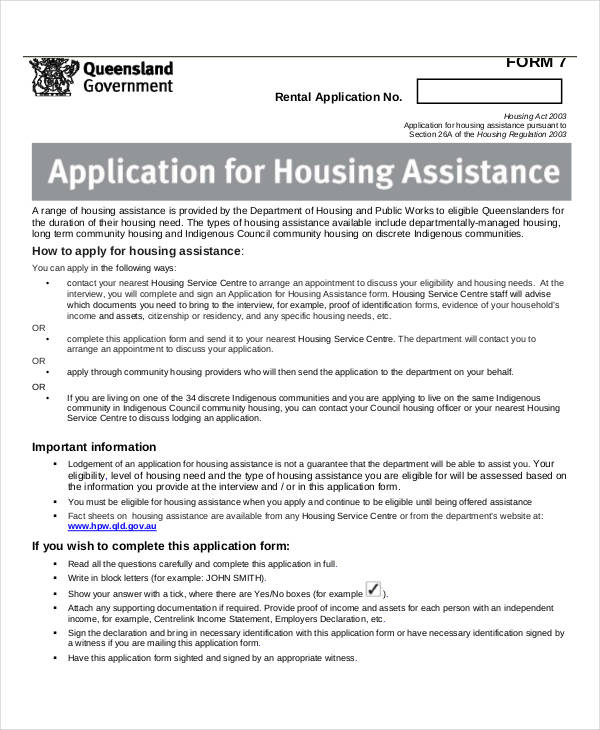 application for housing assistance