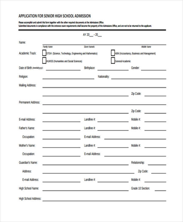 application for senior high school