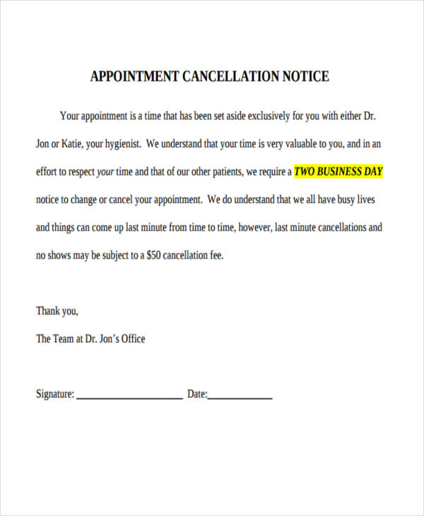 8  cancellation notice examples  u0026 samples