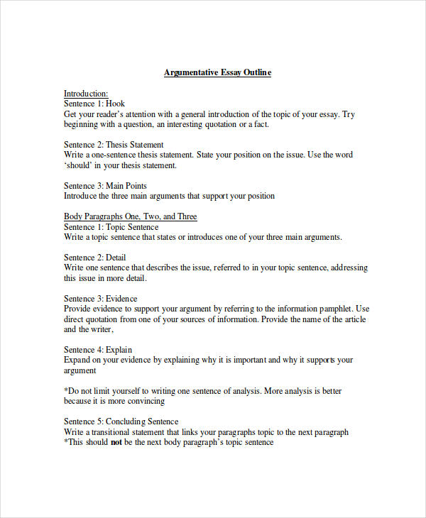examples of an argumentative essay outline