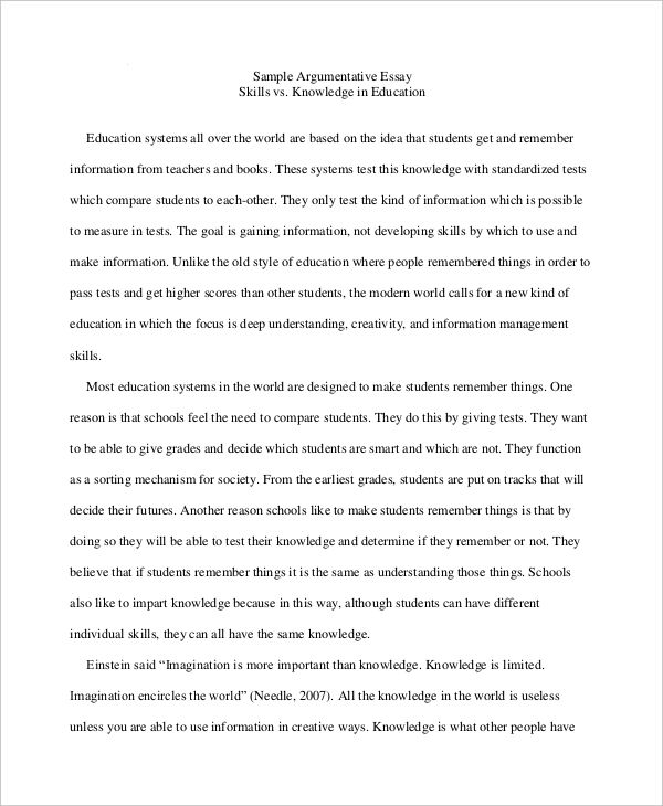 High School Essay Examples Samples Argumentative Essays For High School