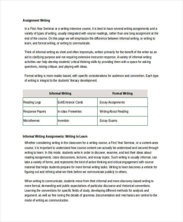 formal writing conventions
