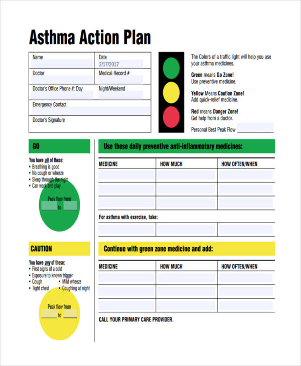 Sample Asthma Action Plan Free Action Plan Templates Smartsheet