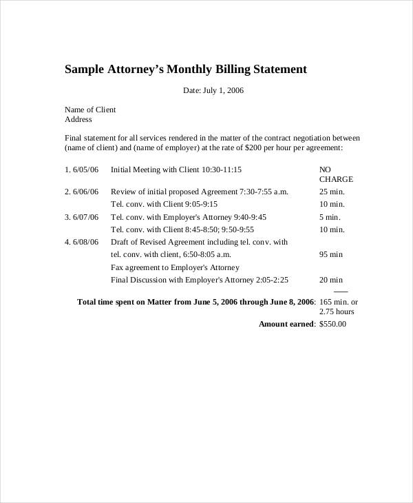attorneys monthly billing