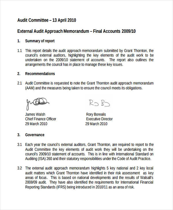 free 10  audit memo examples  u0026 samples in pdf