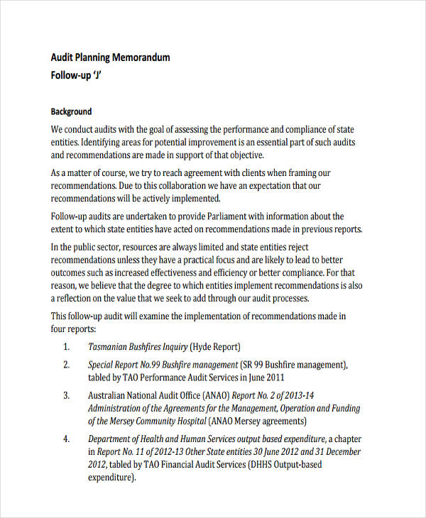 Audit Memo Examples Samples