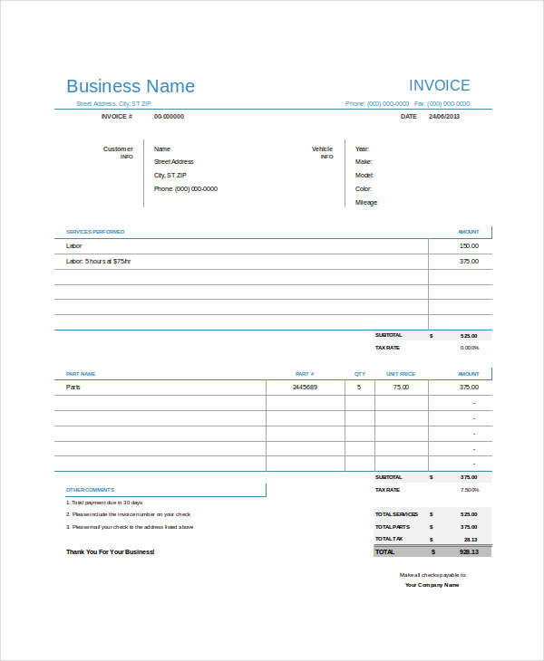 Auto Repair Invoice Examples Samples