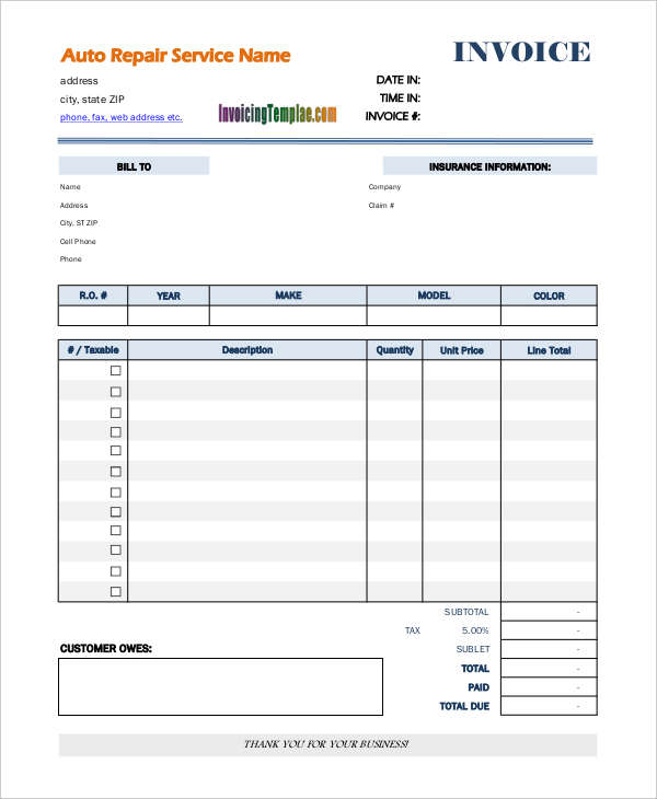Auto Repair Invoice Examples Samples - Car repair invoice template