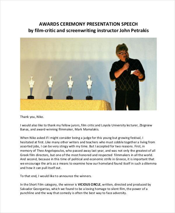 award presentation speech