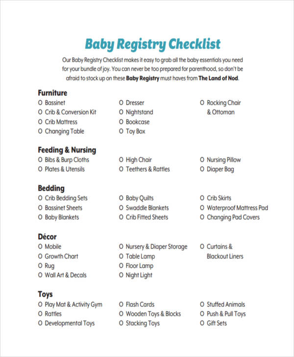 Registry Checklist Examples Samples
