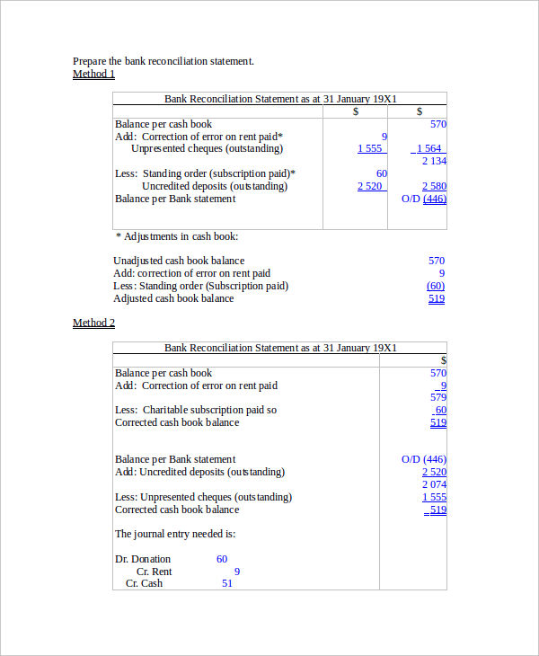 Bank Reconciliation Example  Bank Reconciliation Statement Template