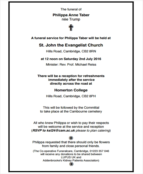 Basic Funeral Notice  Funeral Announcement Sample