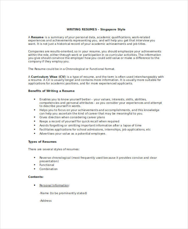 Basic Resume Writing  Achievements Resume
