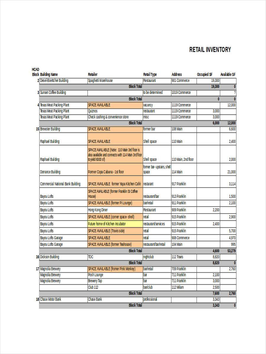 basic retail inventory