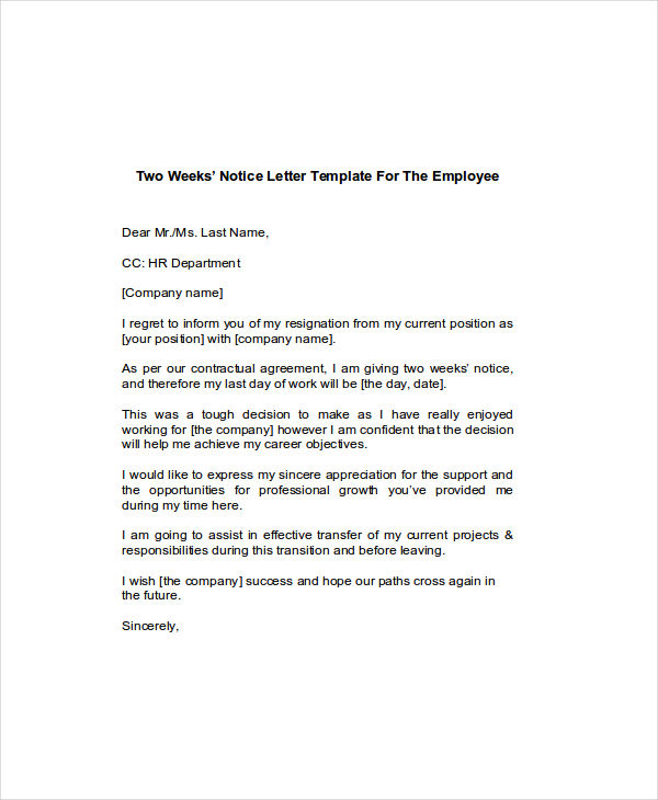 Two Weeks Notice Examples Samples