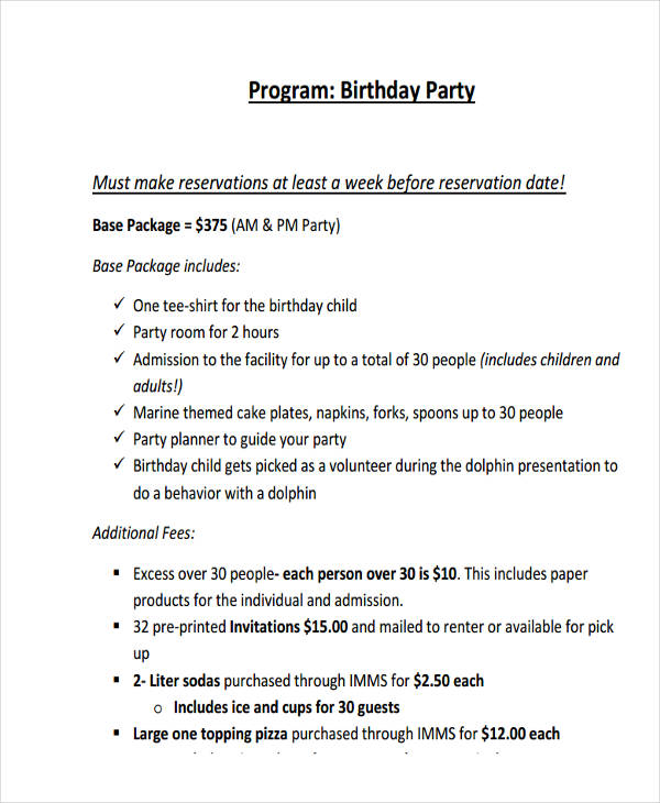 birthday party example