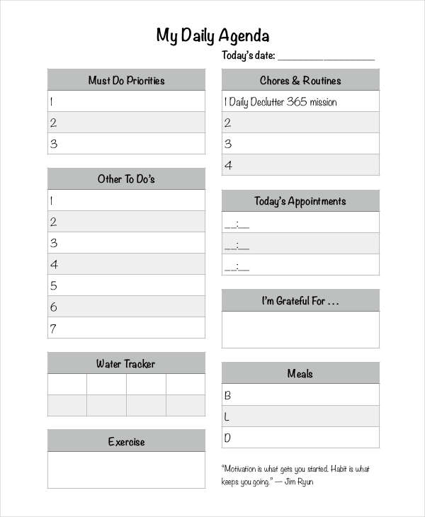 Daily Agenda Examples Samples