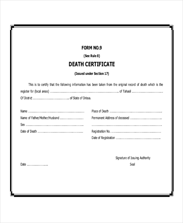 48 examples of certificates in pdf blank death certificate yadclub Images