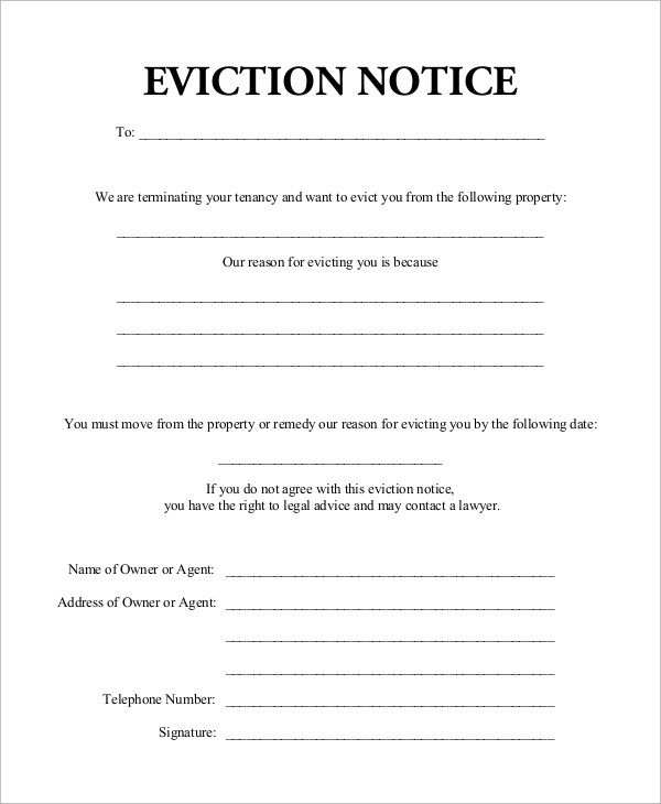 10 eviction notice examples samples. Black Bedroom Furniture Sets. Home Design Ideas