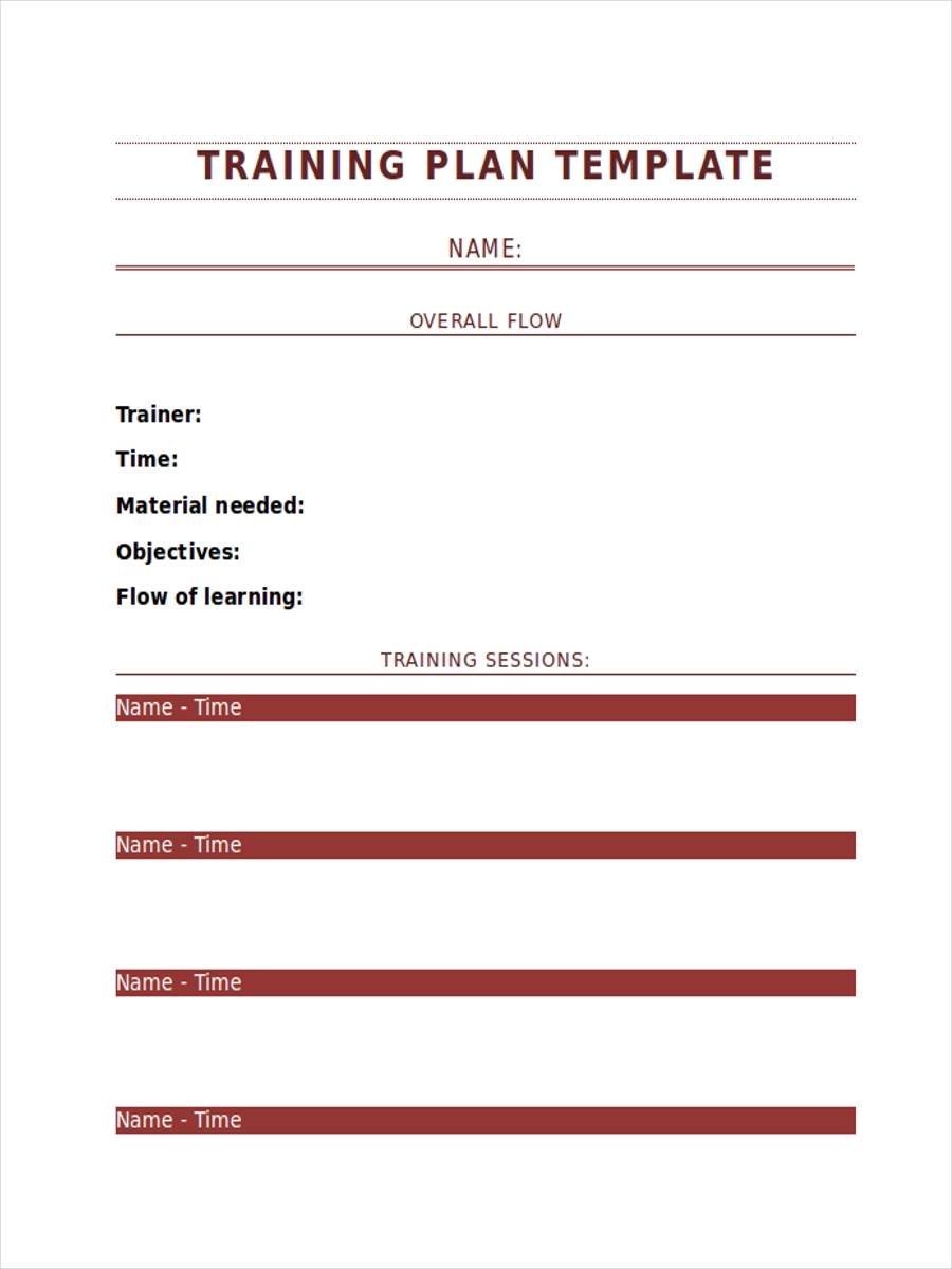 blank training schedule