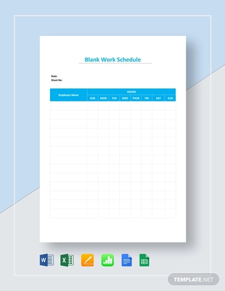 blank work schedule template