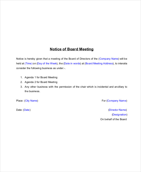 14 meeting notice examples samples pdf word for Notice of board meeting template