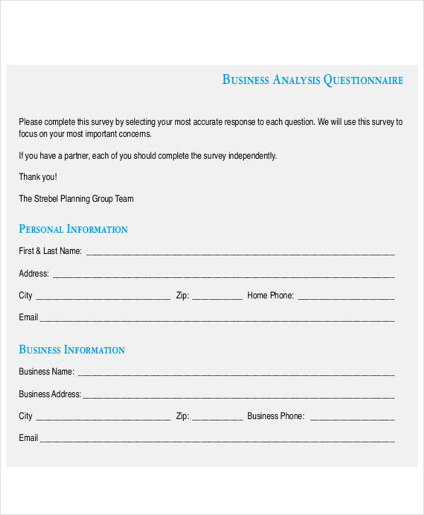 business analysis questionnaire