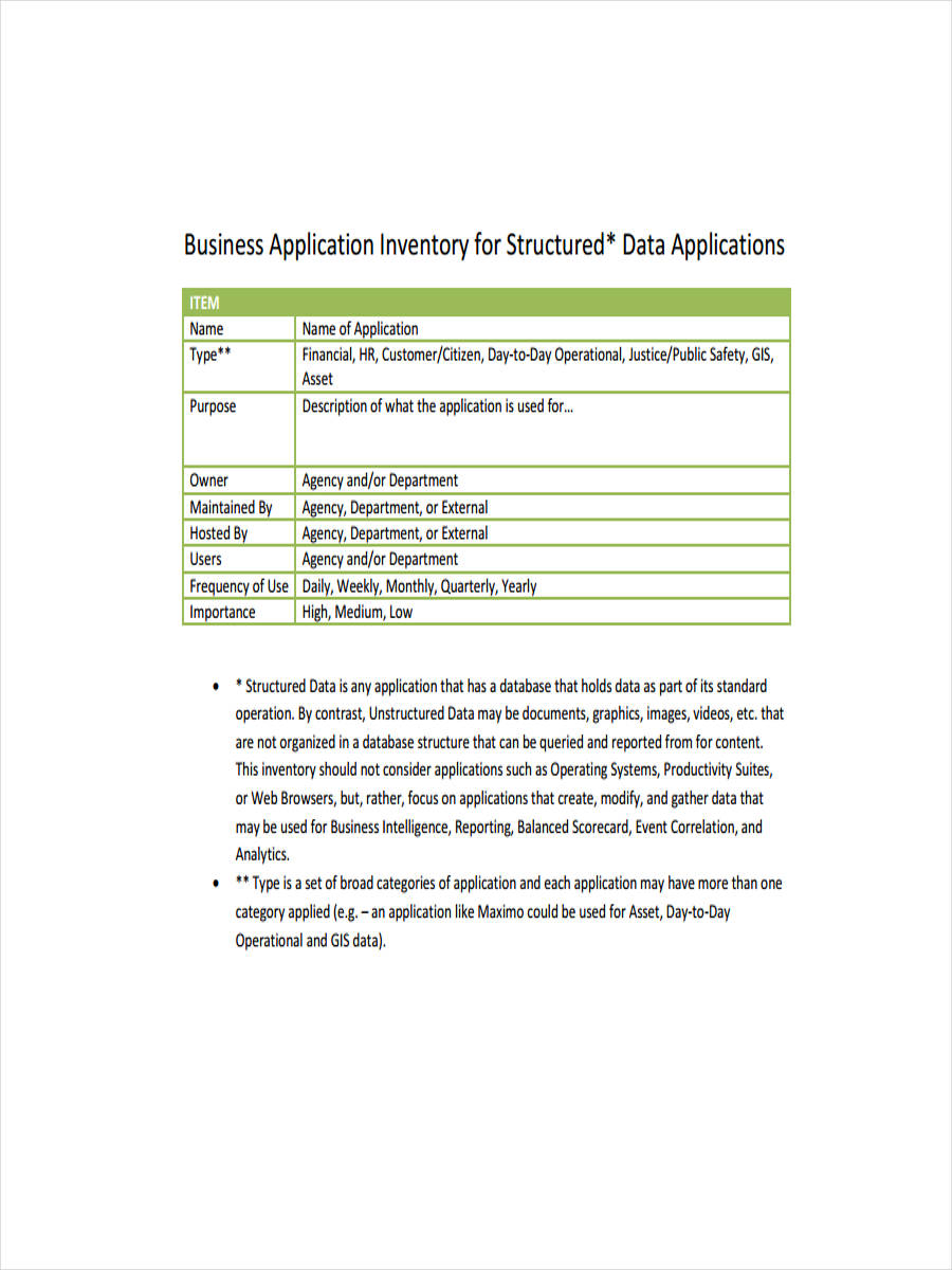 business application inventory sample